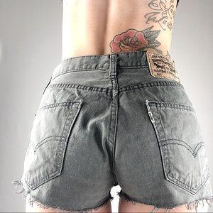 Gray vintage Levi's 505 cut off shorts size 28